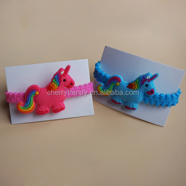 Rubber Wristband Bracelets for Children Novelty Toy Unicorn PVC Bracelet