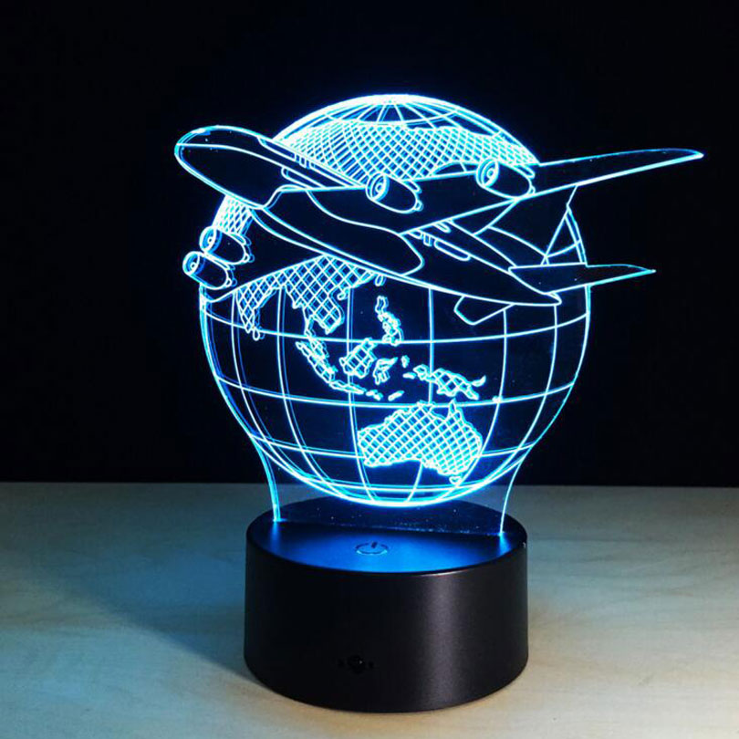 7 Colors Touch Adjustable USB Home Lighting aircraft Globe Earth 3D Night Light Table Lamp Bedroom Led Light