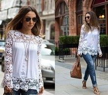 Alibaba Express Italia Top Fashion Ladies Lace Padded Hollow Elegant Blouse