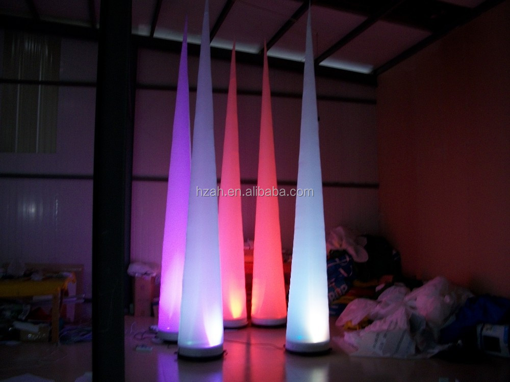 Colorful Lighted Inflatable Cone for Night Party Decors