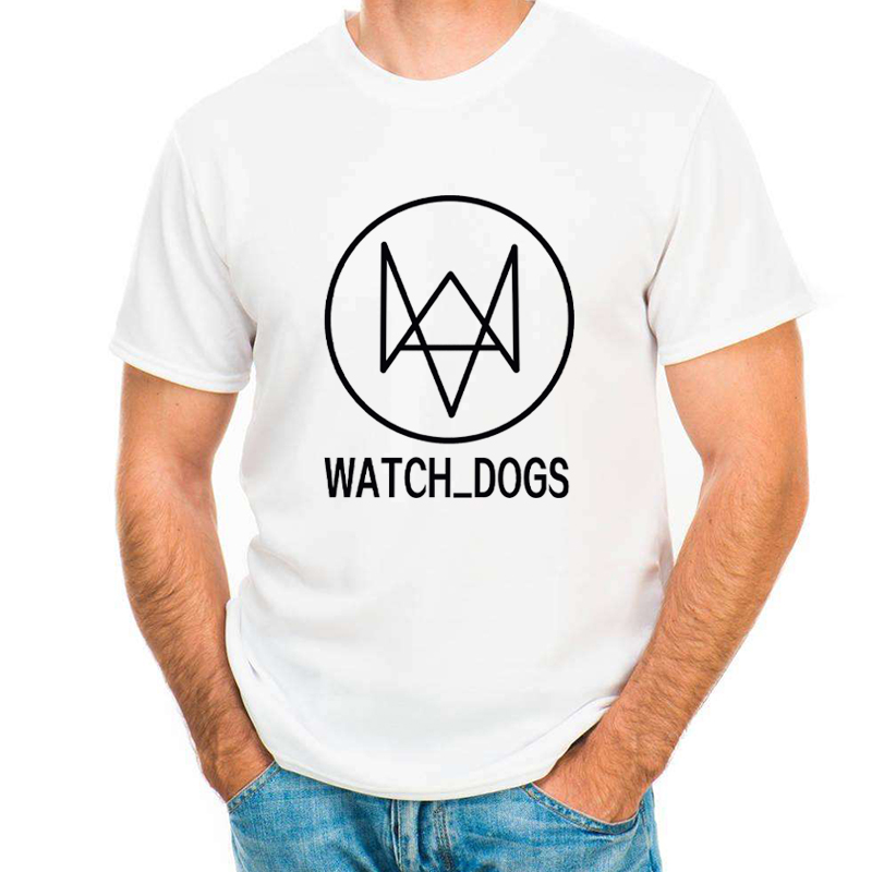 2017 Cheapest Fashion Watch-Dogs Pattern Design Men T-shirt Short Sleeve Men Retro Printed T Shirts Casual Funny Tops Unisex
