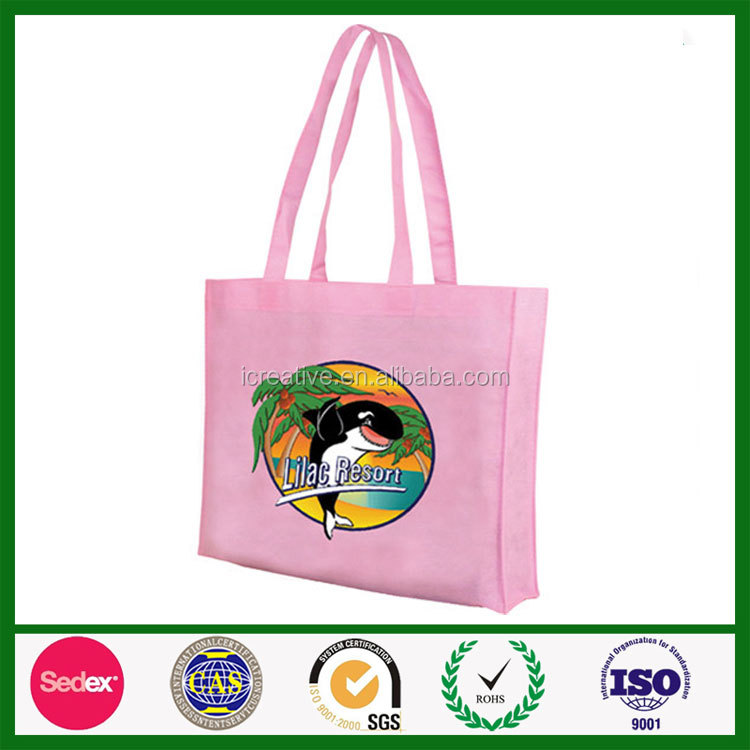 Eco friendly heat transfer printing folding 100 gsm shopping non woven pink bag