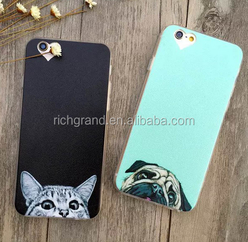 Newest ultra thin Super Cute Funny Cat Dog pattern Phone Cases for iPhone 6 6S