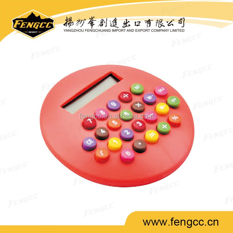 2016 hot sale red color Round shape 8 digits small size / min electronic / scientific calculator