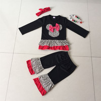 cute leopard mouse head applique ruffle shirt and pant boutique girl clothing fall sets