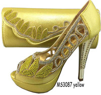 2015 latest design MS3087 yellow shoes and matching bag/Italian shoes and matching bag