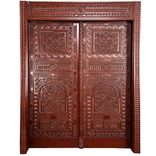 Mid East Latest Design Model Hotel House Double Solid Wooden Entrance Door