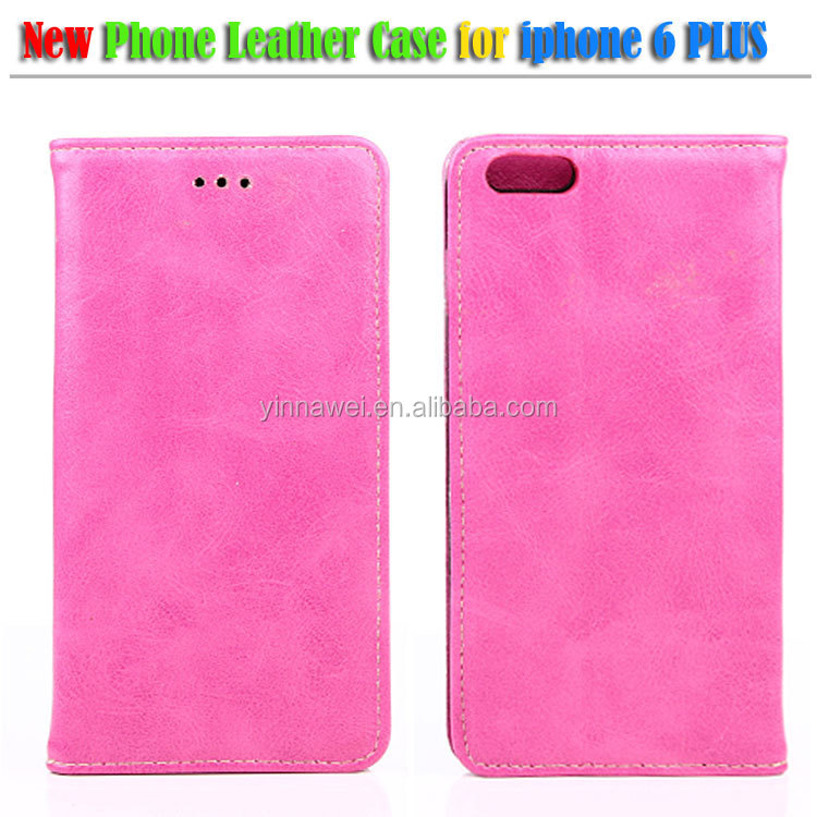 "5"" inch leather case, Crazy horse pattern leather case for apple iPhone6 plus with stand"