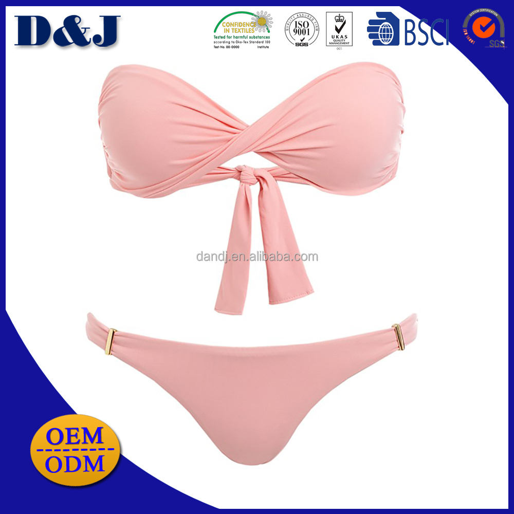Hot selling wholesale beautiful girl bandeau rose pink ruche design bikini with sexy image