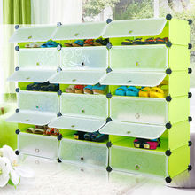 Free standing shoe rack tower assembled by plastic panels and connectors (FH-AW0241821-18)