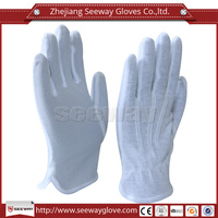 Seeway White Cotton Gloves Dotted Anti Skid Good Dust Free Sweat Absorption in Working