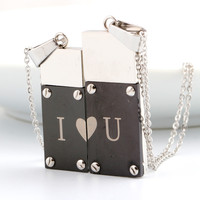 Bulk Christmas Gifts For Valentines Broken Heart I Love U Word USB Flash Disk Pendant Necklace For Couple