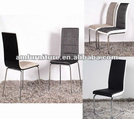 AM-C165 Dining chair made of cloth seat and back and chrome legs