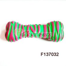 F137032 Rubber Material Bone Shape Quality Unique Dog Toys Mix Color 8*10 CM