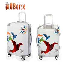 New design printing cartoon colourful travel trolley luggage bag for girls