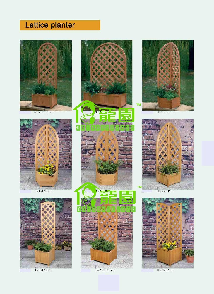 Garden Pots & Planters>>Flower Pots & Planters>>Wooden Arched Trellis lattice planter