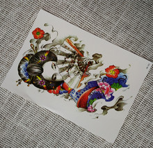 Sex Japan woman with fan Body Temporary Tattoo Sticker