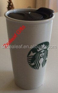 2015 new style fashion Double wall white colour Starbucks mug