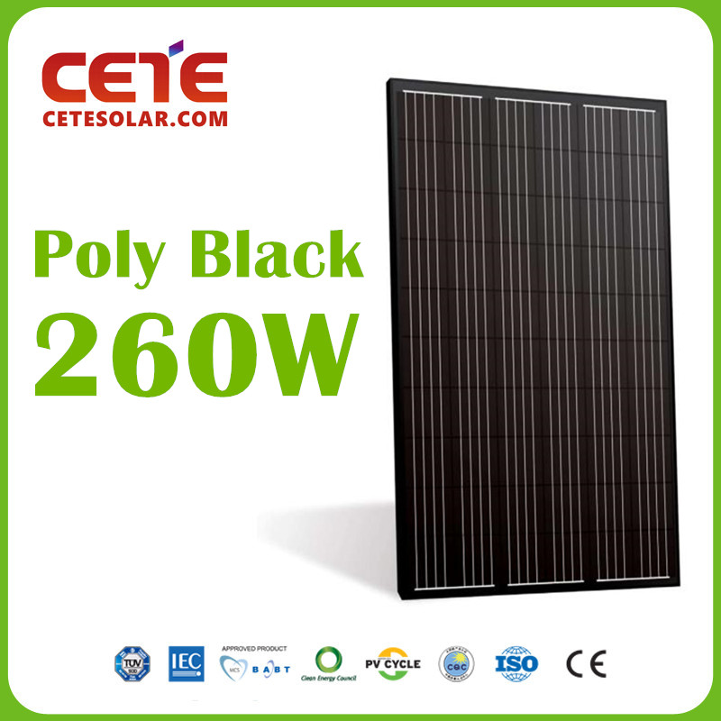 Polycrystalline Solar Panel PV Module 60Cell 260W All Black Solarpanel for Solar System Solar Plant