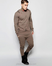 Super fashion men crew neck distressed design rip details slim fit sweat shirt suits OEM