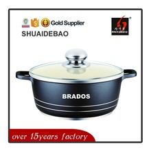 Shuaidebao anti-scratch silicon handle ceramic coated die casting cookware