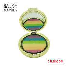 Multi colored private label mini 5 in 1 face baked rainbow highlighter powder makeup highlighter palette