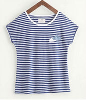blue and white striped female t shirt high school students clothes china OEM design your style and logo
