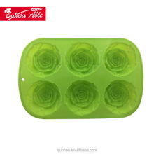 Custom Designs 6 Cavity Silicone Rose Flower Shaped Muffin Cupcake Pan