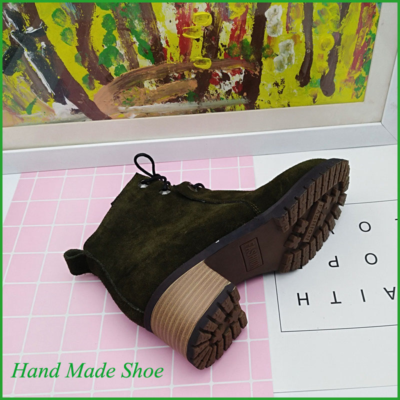 Women Shoes Spring Genuine Green Suede Leather Boots
