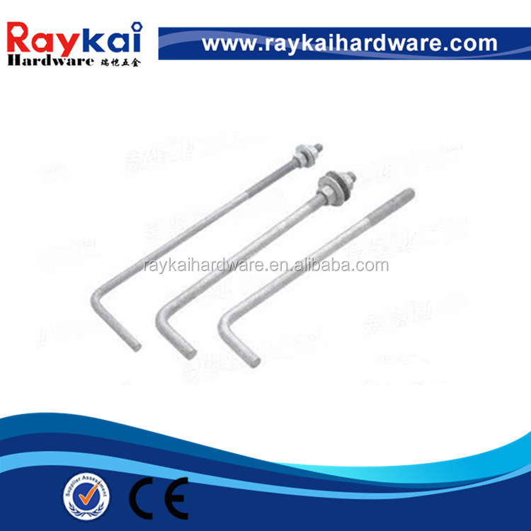 Good quality galvanized steel foundation bolts L shaped anchor bolt for sale