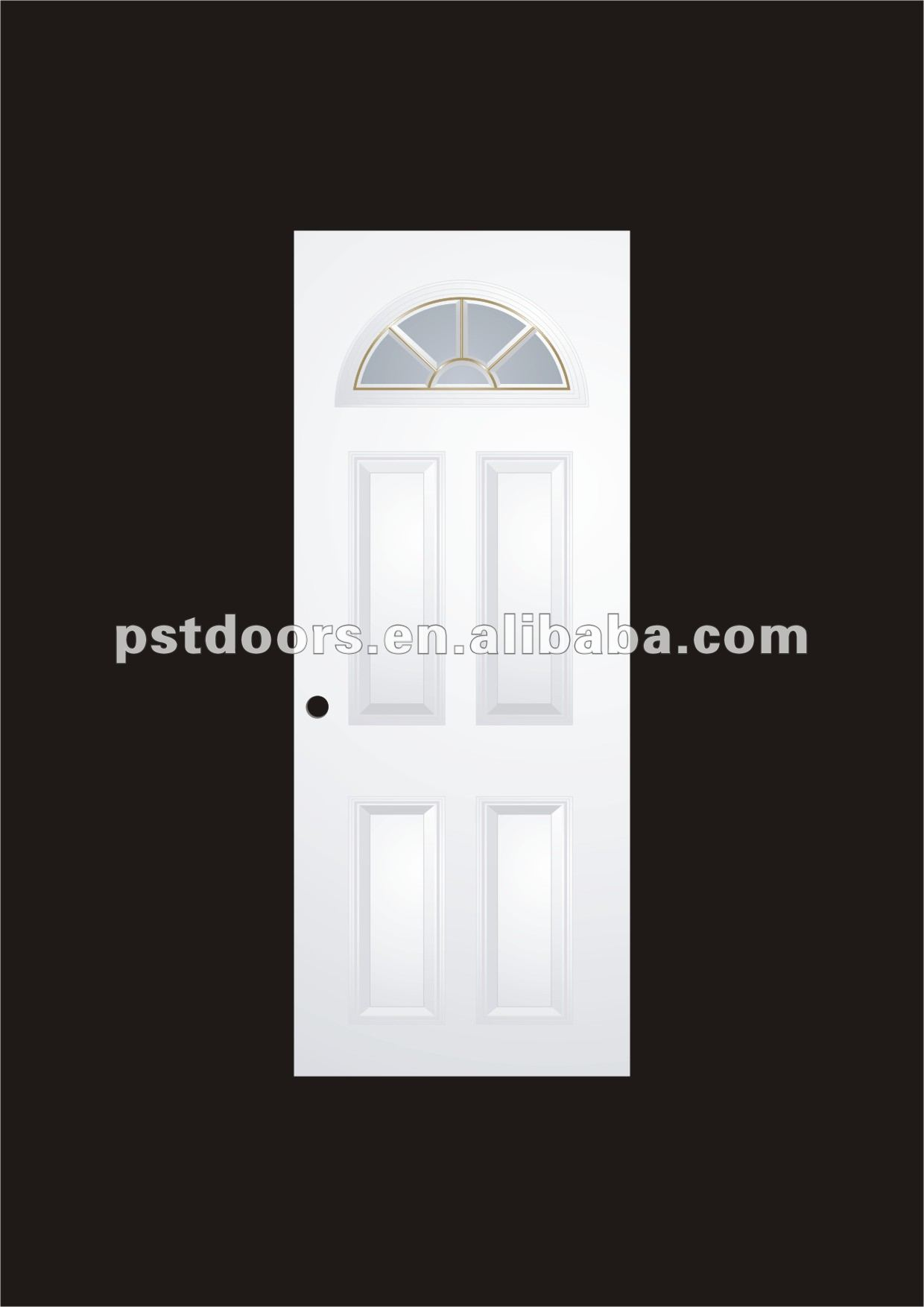 bathroom door,pvc laminated, half moon glass insert