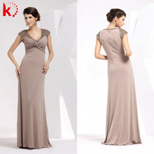 Short sleeve coffee beaded new formal evening dresses for women 1026