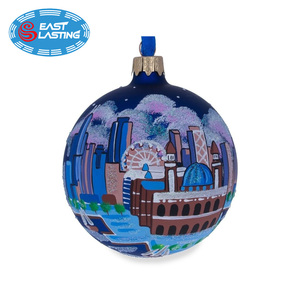 City night hand painted Christmas glass decoration balls