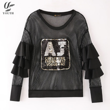 New Fashion Latest Fancy Sexy Transparent Black And Gold Girls Tunic Sequin Tops