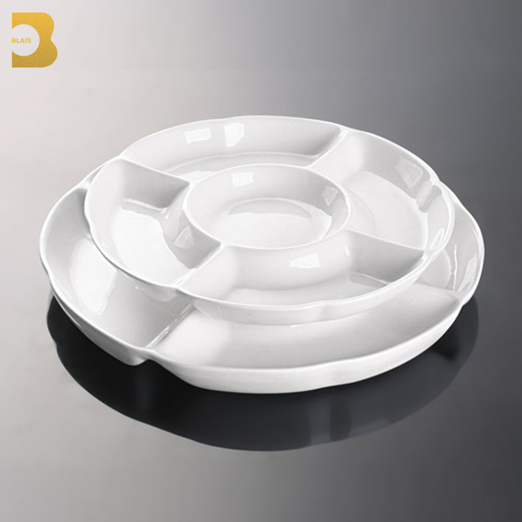 "tableware for restaurants 10""12"" round ceramic fruit food divider 5 compartment dinner plates"