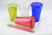 Wholesale plastic cups, plastic cup with lids and straws,plastic drinking cup lid straw
