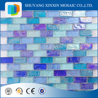 Blue iridescent swimming pool glass mosaic tiles crystal glass strip mosaic tile