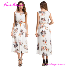 Free Shipping US Warehouse Ladies Elegance Flower Printed White Maxi <strong>Dresses</strong> Long