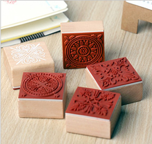 square customize colorful decorative stamps for teaching wood rubber stamps
