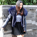 CX-G-A-21C Genuine Fashion Genuine Leather Jacket Clothes Coat With Raccoon fur Collar