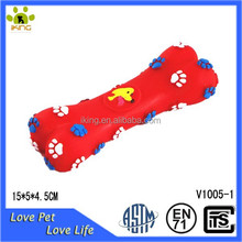 Plastic red colour footprint bone shape soft squeaky latex pet toy for dogs