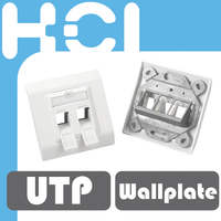 Taiwan Supplier RJ45 Keystone 3-Port Wallplate with Label and Shutter