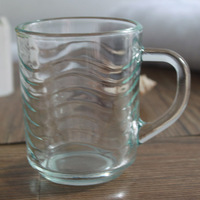 Cheap Design Handle Glass Mug With Wave Shape glass cup With lines Machine Made