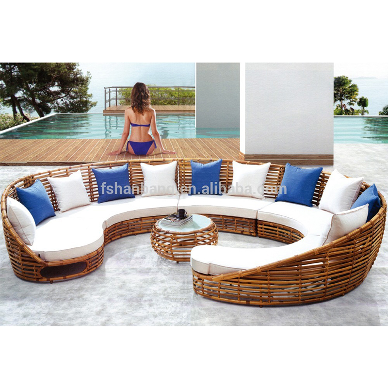 Fancy Large Round Wicker <strong>Rattan</strong> Sofa <strong>Furniture</strong>