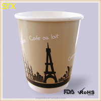 custom paint Eiffel Tower paper coffee cup,disposable paper cup wholesales