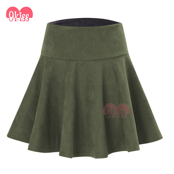 2018 Women Fashion Stretch Waist Short Mini Skirts Candy Color Skater Flared Pleated Skirts