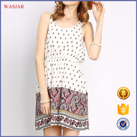 Summer hot sale latest design women's fashion casual sleeveless Floral print Backless Mini Dress