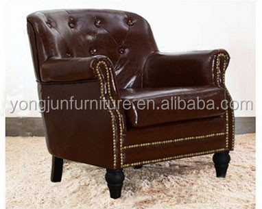 Antique Brown Leather Chesterfield Wing Back Queen Anne Chair/ Armchair/French style armchair/YJ-154