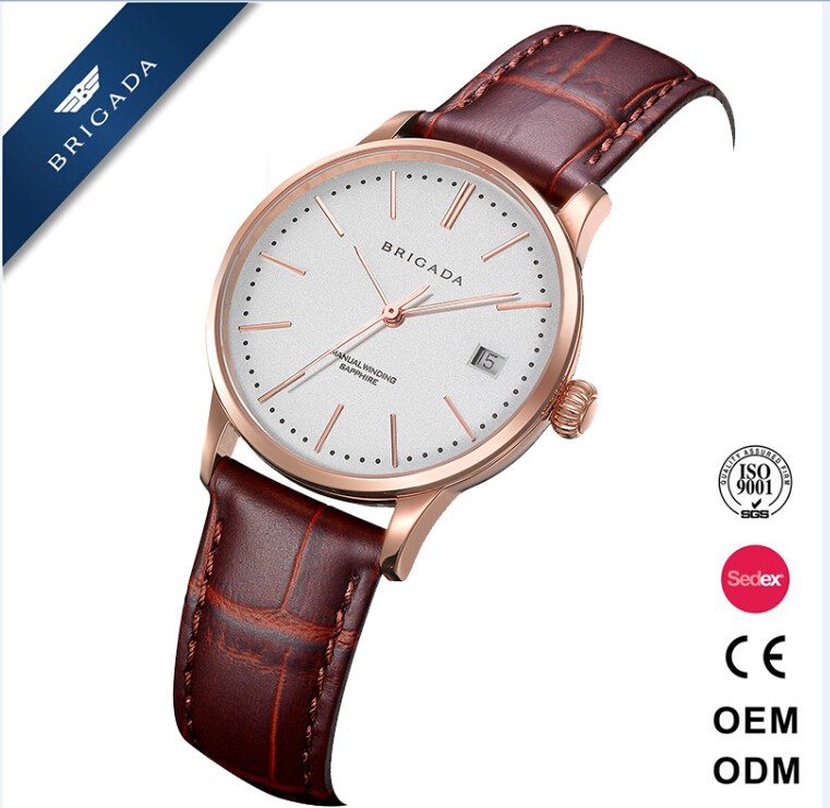 Quality high end custom factory watches genuine leather men watch with low MOQ