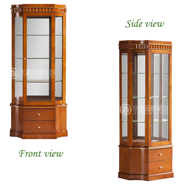 New Classic Wine Cabinet Round Glass Door Display Wooden Cabinet
